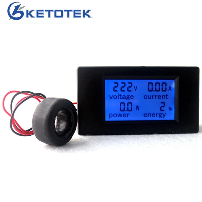 AC 80-260V 100A 4 in 1 Digital LCD Volt Amp Watt Energy Meter AC Voltmeter Ammeter with Current Transformer