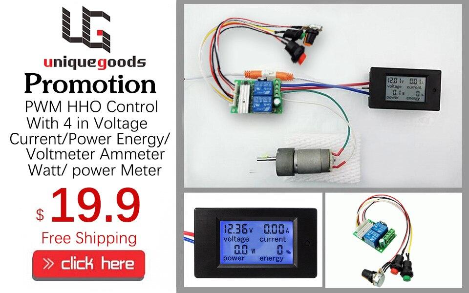 PWM HHO Contrôle Avec 4 en 1 Tension D'énergie voltmètre Suis compteur Watt Puissance Compteur Affichage