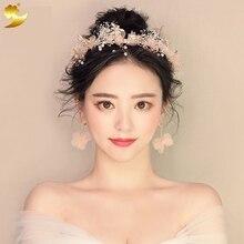 Gorgeous bowknot headband pearl jewelry crystal tiara women crown wedding accessories Earrings korean hair accessories 89348