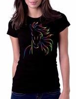New Brand Clothing Fashion Cotton Horse Bold Color Artt Shirt Women T Shirt Short Sleeve O