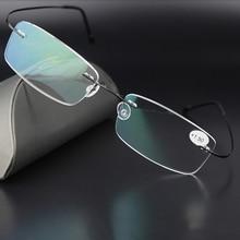 77c7b8cf7dfa1 Homens Óculos De titânio Armação De Titânio Óculos Sem Aro Frame Ótico  Mulheres Silhouett