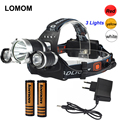 BORUIT 5000 Lumen Headlamp 18650 CREE XML T6+2R5 Red Yellow White Rechargeable Cycling Headlight Lamp+2pcs 18650 battery+Charger
