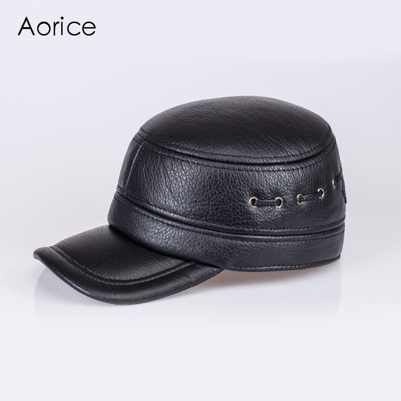 Aorice New Fashion Retro Men's Scrub Genuine Leather Adjustable Baseball Autumn Winter Warm Baseball Men's Hat / Cap HL081 princess hat skullies new winter warm hat wool leather hat rabbit hair hat fashion cap fpc018
