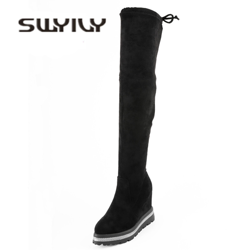 SWYIVY Shoes Boots Woman Over The Knee High Tall Snwoboots 2018 Winter Velvet Female Casual Shoes Wedge Stretch Snow Boots 34