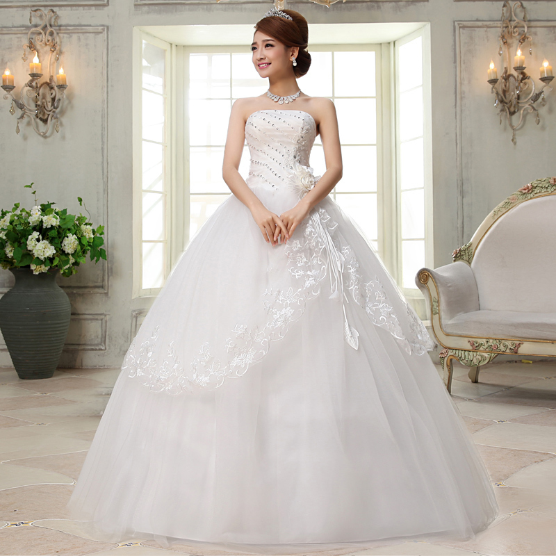 Vivian's Bridal White Lace Hem Flower Crystal Wedding Dress 2018 Appliques Strapless Floor-length Ball Gown Women Bridal Dress