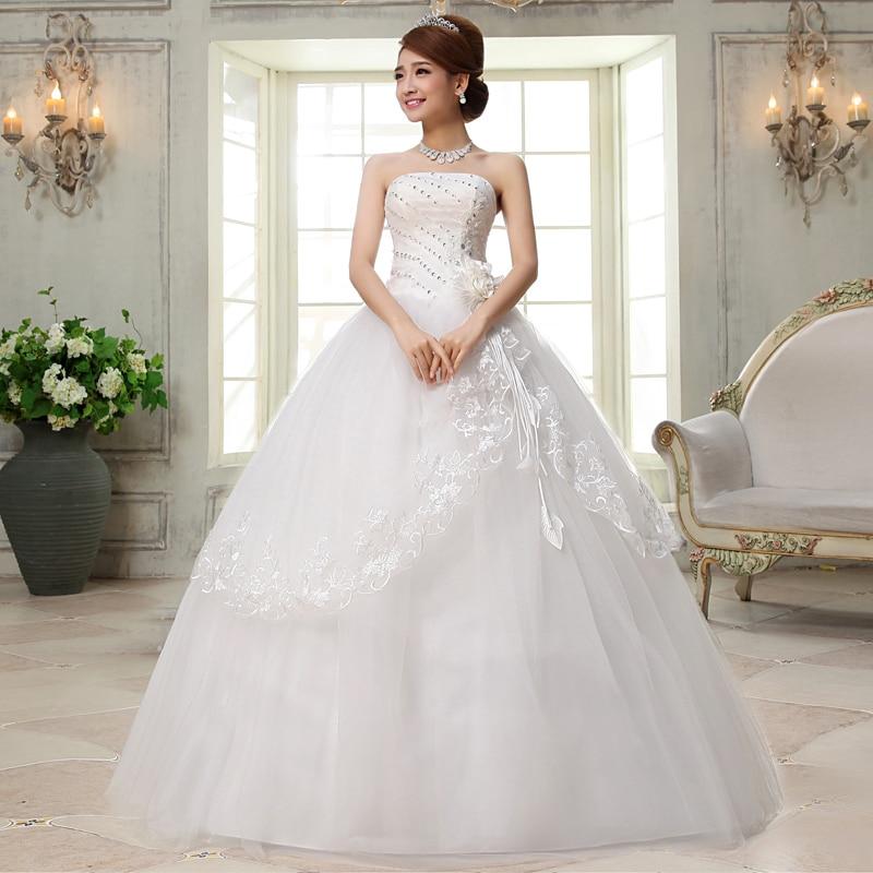 Vivian Wedding Gown: Vivian's Bridal White Lace Hem Flower Crystal Wedding