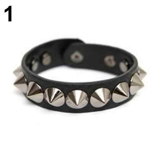 Moda Punk Rock gótico imitación cuero remache broche pulsera brazalete pulsera
