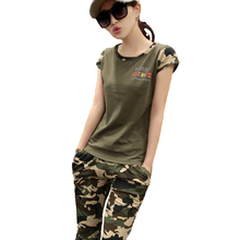 Sport 2 Piece Set women 2016 Fashion Summer Tracksuit Camouflage Two Jogging Suits For Women Tops+Pant Plus Size M-4XL