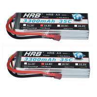 2pcs HRB RC Lipo 4s Battery 14.8V 3300MAh 35C 70C For Quadcopter RC Car Airplane 70mm EDF FPV Planes Wings Helicopter