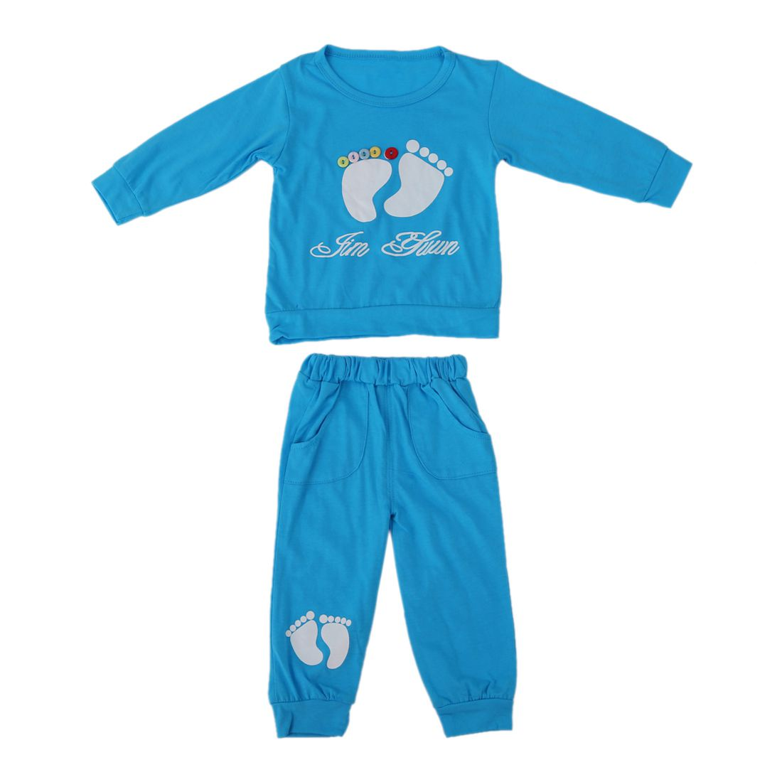 KEOL Best Sale High Quality 100% Cotton baby clothing set,Toddlers children set,baby boys girls 2 pcs Footprints ,Hot sale-Blu