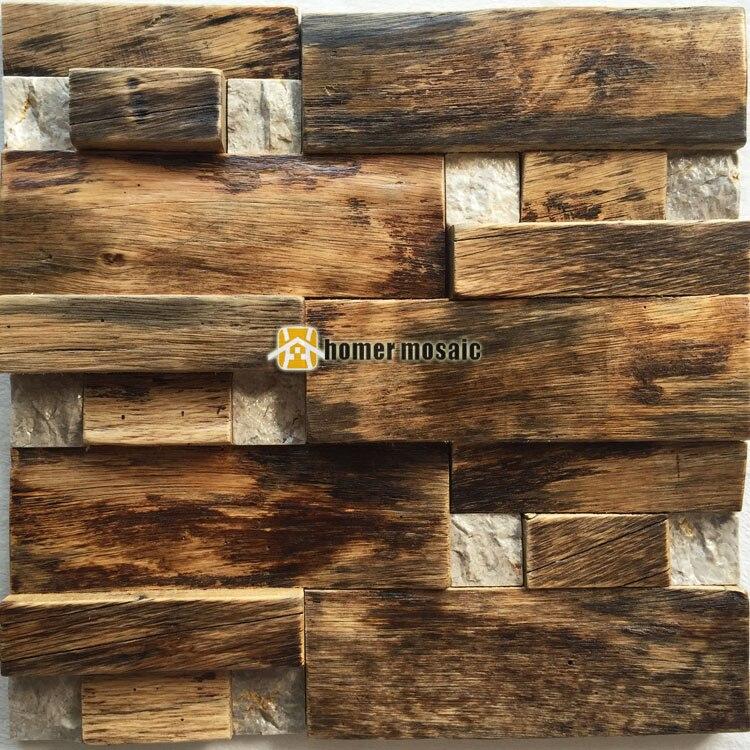 3D bois naturel mosaïque vieux navire carreaux de bois mixte pierre mur mosaïque HS6001 pour bar fond dosseret cuisine mur