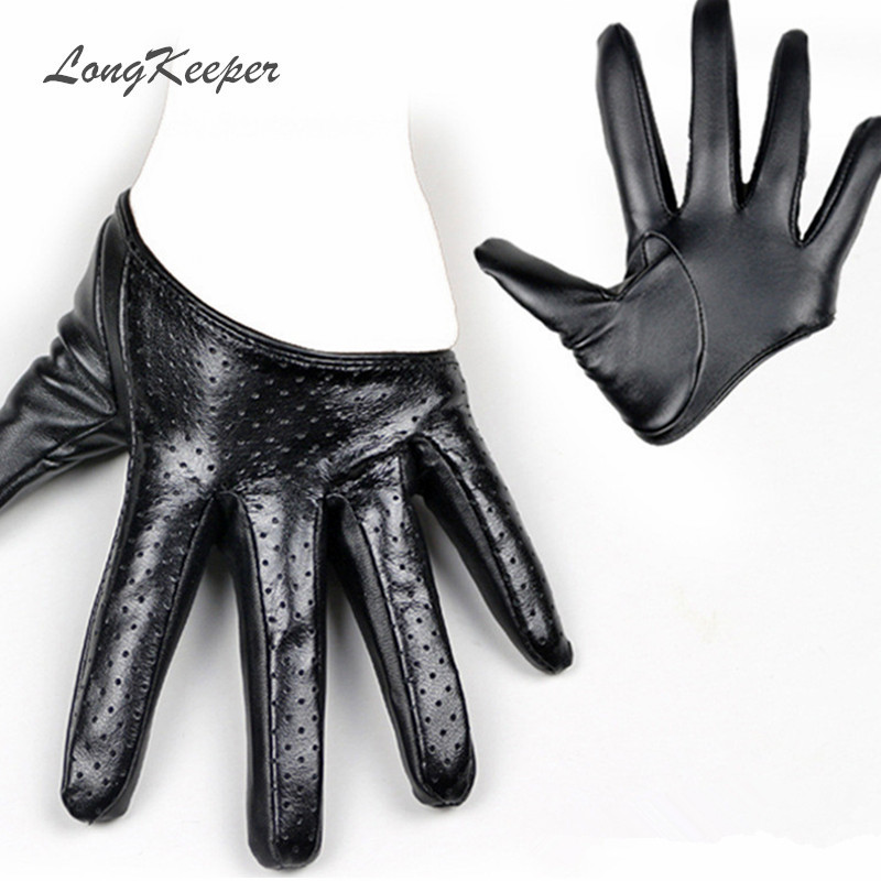 LongKeeper New Design Sexy Leather Gloves For Women Half Palm PU Leather Gloves Party Show Mittens Black Gold Silver SXJ106