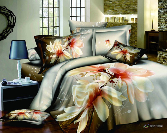 Big flower women\'s ladies girls 3d queen comforter sets bed in a bag ...