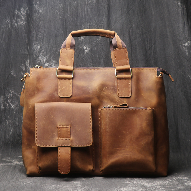 Yellow Brown Leather Men Briefcase Vintage Russian Men Leather Handbags 100% Genuine Cow leather Laptop Bags maxdo vintage brown 100
