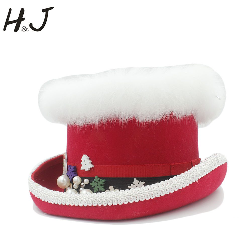 Christmas Top Hat.Us 62 11 37 Off Top Hat 15cm 5 89inch 100 Wool Red Women Christmas Top Hat For Fashion Lady Queen Fedora Mad Hatter Magic Show Caps In Women S