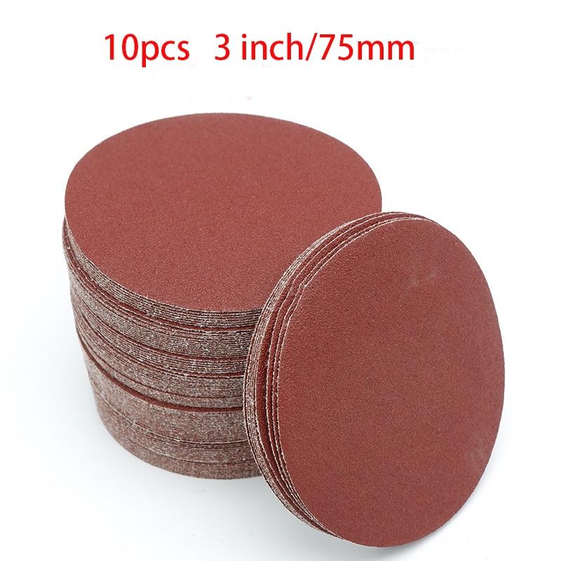NEW 10PCS Sanding Disc 60-2000 Grit 3 Inch 75mm Sandpaper For Dremel Sander Machine Self Stick Abrasive Tools Accessories