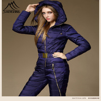 2018 г. новые зимние Костюмы комплект верхняя одежда Высокое качество лыжный костюм Для женщин Integrated лыжный костюм женский открытый лыжный ко