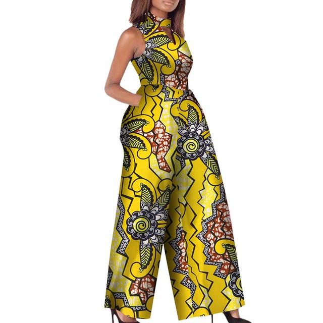 99da116e13 African Print Women Jumpsuit O-Neck Sleeveless Autumn Sexy Romper Wide Leg  Pants African Ladies Jumpsuits Rompers