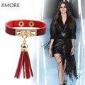 [JIMORE] 2017 Fashion Women PU Leather Bracelet Vintage Punk Tassel Bracelet Red Leather Bracelet Jewelry Accessories JMB008