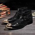 Los Hombres británicos Botines Otoño del Resorte En Punta Suave Cuero Genuino Botas Hombre Vaquero Militares Botines Zapatos de Vestir de Boda