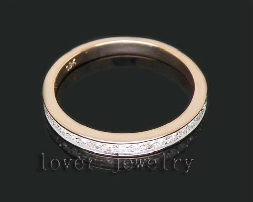 Cheap Wedding Band Solid 18K Vintage Rose Gold Diamond Promise Rings For Sale