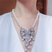 white freshwater pearl necklace NEAR ROUND 10 11MM zircon pendant wholesale beads nature FPPJ 19inch woman