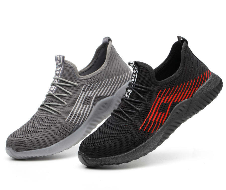 Flyknit Breathable Steel Toe Cap Work Safety Shoes Outdoor Men Anti slip Deodorant Steel Puncture Proof Construction-in Safety Shoe Boots from Security & Protection