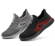 Flyknit تنفس غطاء صلب لأصبع القدم حذاء امن للعمل في الهواء الطلق الرجال المضادة للانزلاق مزيل العرق الصلب ثقب برهان البناء