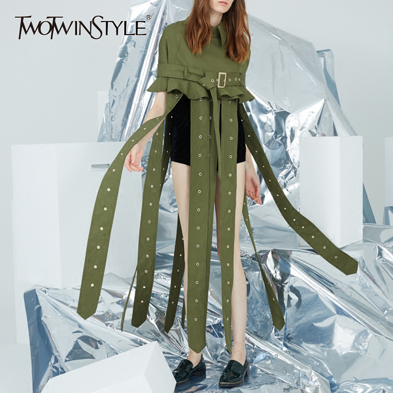 TWOTWINSTYLE Cloak Windbreaker Female Lapel Collar Sashes Ruffles Long Ribbons Trench Coat For Women Summer Fashion New Clothing