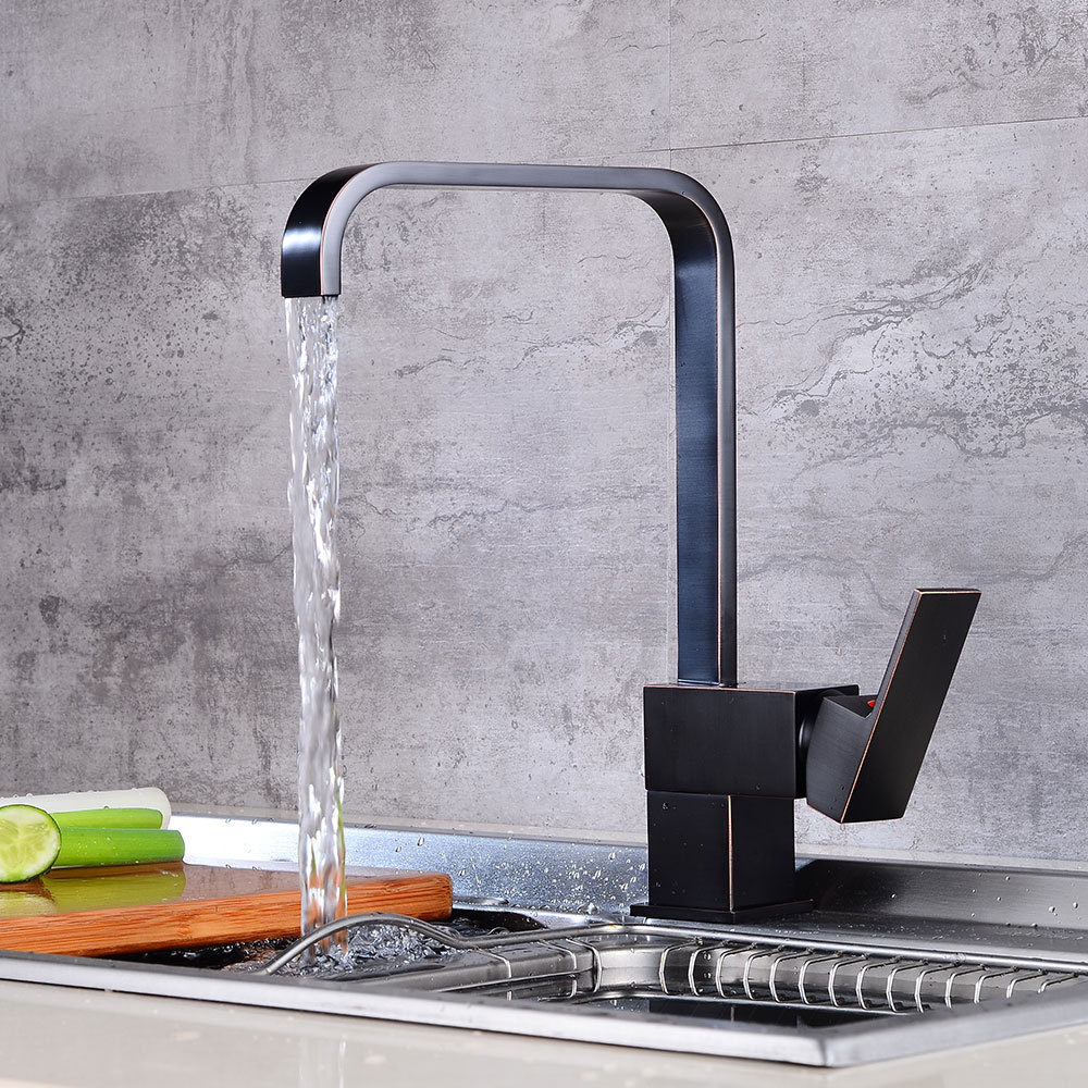 Kitchen Sink Faucet Black Bronze Finish Brass Crane Kitchen Faucets Hot and Cold Water Mixer Tap Single Hole Mixer Tap torneira kitchen faucet cold and hot water mixer tap double handle faucets single hole brass kitchen taps chrome finish