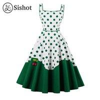 Sishot Women Summer Retro Green Dot Dress Square Collar Vintage White Knee Length Cherry A Line