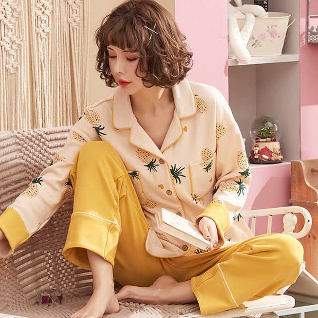 Women's Fashion Yellow Cotton Pajamas