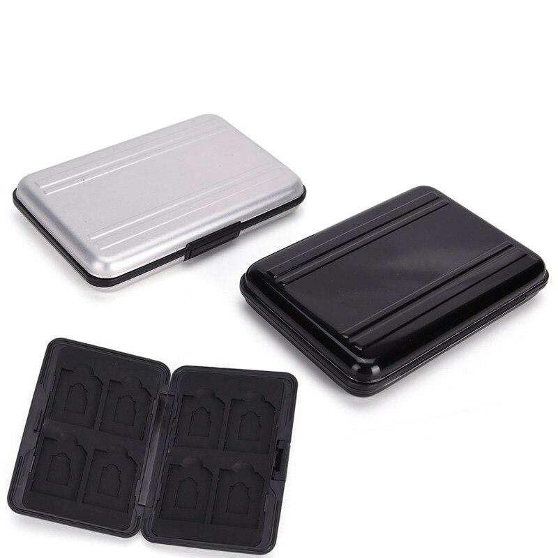 8 X Caja De Almacenamiento De Tarjetas De Memoria Caja De Transporte Duro Negro Aluminio Negro Tarjetas De Memoria Para Reducir El Peso Corporal Y Prolongar La Vida