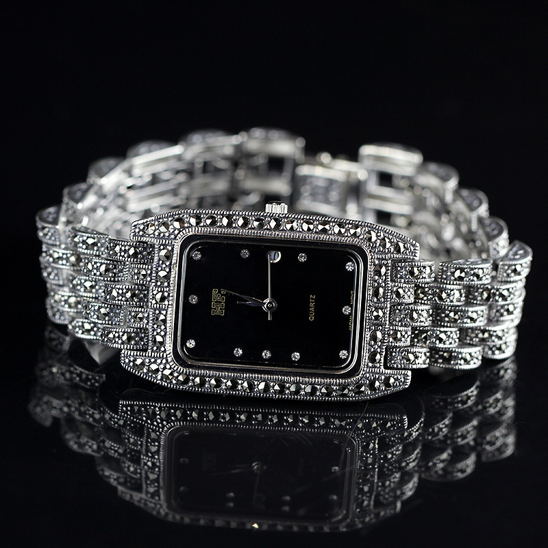 prata thai pura pulseira feminina relógios tailândia praça strass bangle