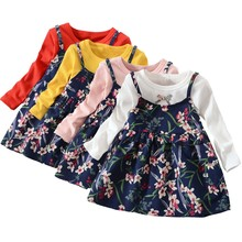 Toddler Baby Girls Long Sleeve Floral Flower Print Dress Outfits Clothes Casual wear Wholesale&Dropshipping