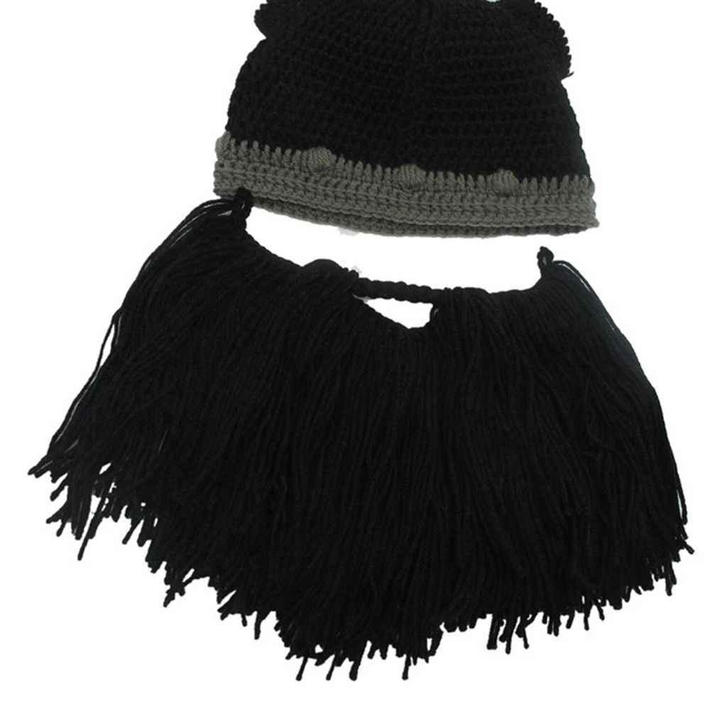 79c7ed61 Barbarian Viking Beanie Beard Horn Hat Handmade Knit Winter Warm Cap Men  Women Birthday Cool Funny Gag Party Xmas Gifts