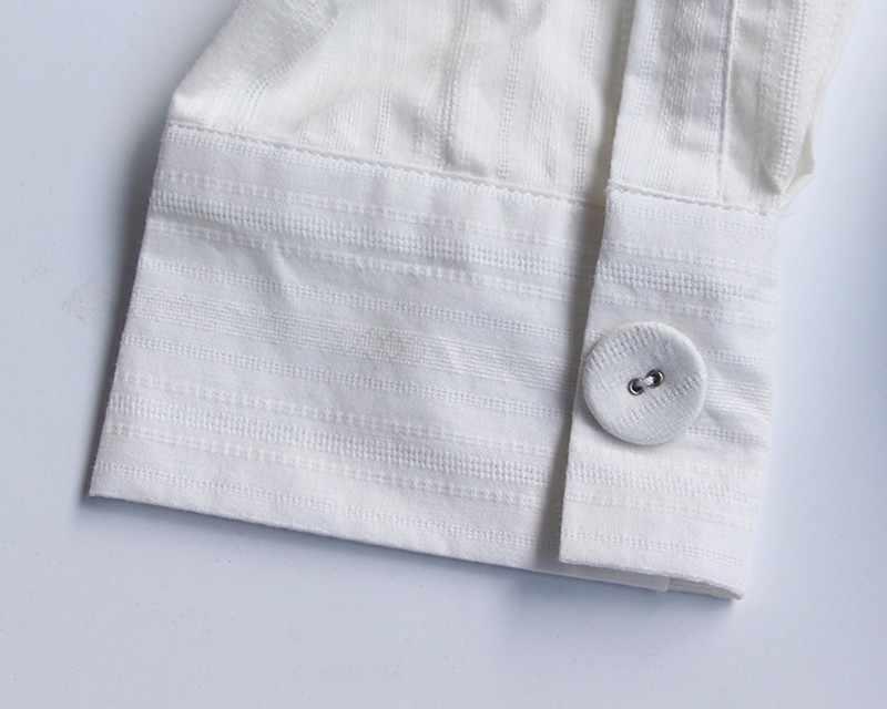 TWOTWINSTYLE Ruched חולצה נשים תחרה עד ארוך שרוול סדיר לבן חולצה גדולה גודל 2019 אביב נשי סקסי אופנה בגדים
