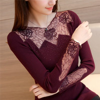 New 2018 Spring Sexy Lace Knitted Sweater Women Solid Color Slash Neck Slim Fit Elastic Sweaters