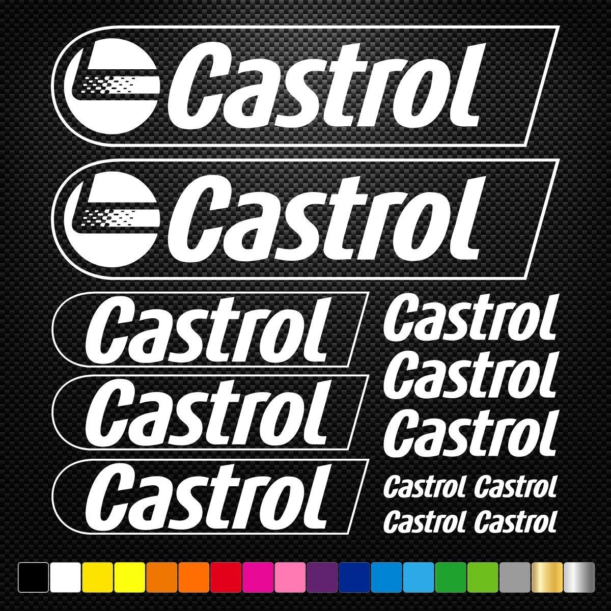 CASTROL 12 Stickers Autocollants Adhésifs Auto Moto Voiture Sponsor Marques