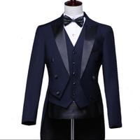 2019 Navy Blue Men's Tuxedo New Suit Set Hosting Singer Dress Pianist Suits Wedding Groom Stage Singer Costumes Magic Clothes