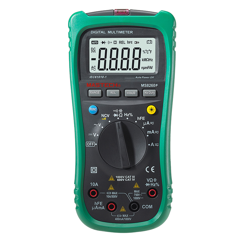 MASTECH MS8260F Megohmmeter DMM Frequency Capacitor w/NCV & hFE Meter & LCD Backlight Multimeter Auto Range Digital tester