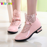 Pink White Black Girl PU Leather Shoes For Girls Party Lace Dance Children Kids Shoes 2