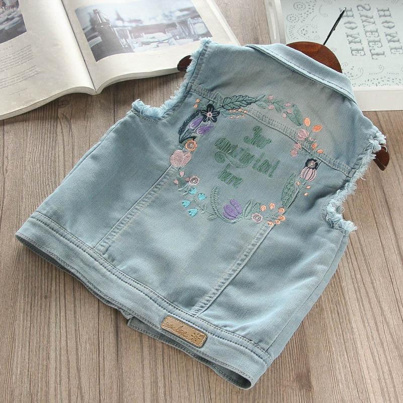 Wholesale Brand Denim Vest For Baby Girl Fahsion Cartoon Print Pattern Outerwar Children Casual Style Sleeveless Tops Vest Ws284 Mother & Kids Girls' Clothing