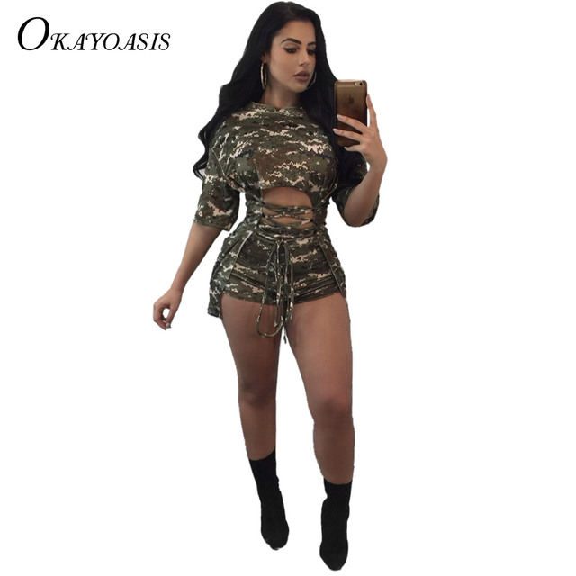 b83143d12be 2017 Summer Fashion Casual Women Two Piece Jumpsuit Army Green Hollow Out  Half Sleeve Slim Bodysuit Rompers Overalls Femme
