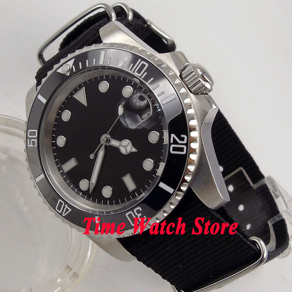 40mm Bliger black sterile dial Luminous sapphire glass Nylon strap Mingzhu 2813 Automatic movement Men's watch men 210
