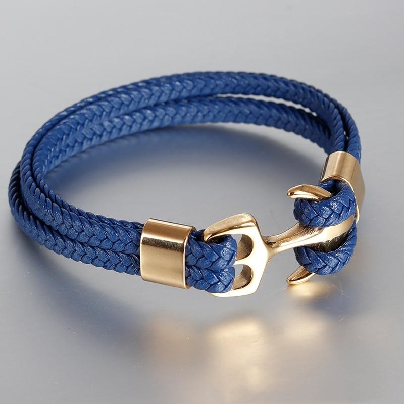 7 Colors Stainless Steel Men Bracelet Red Genuine Leather Gold Black Anchor Multi-layer Braided Bracelet Homme Men Jewel'r'y