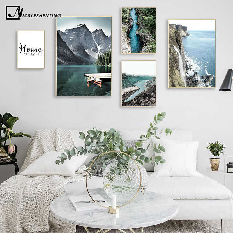 Mountain Lake Waterfall Picture Scandinavian Poster Nordic Style Print Nature Scenery Wall Art Canvas Painting Modern Room Decor