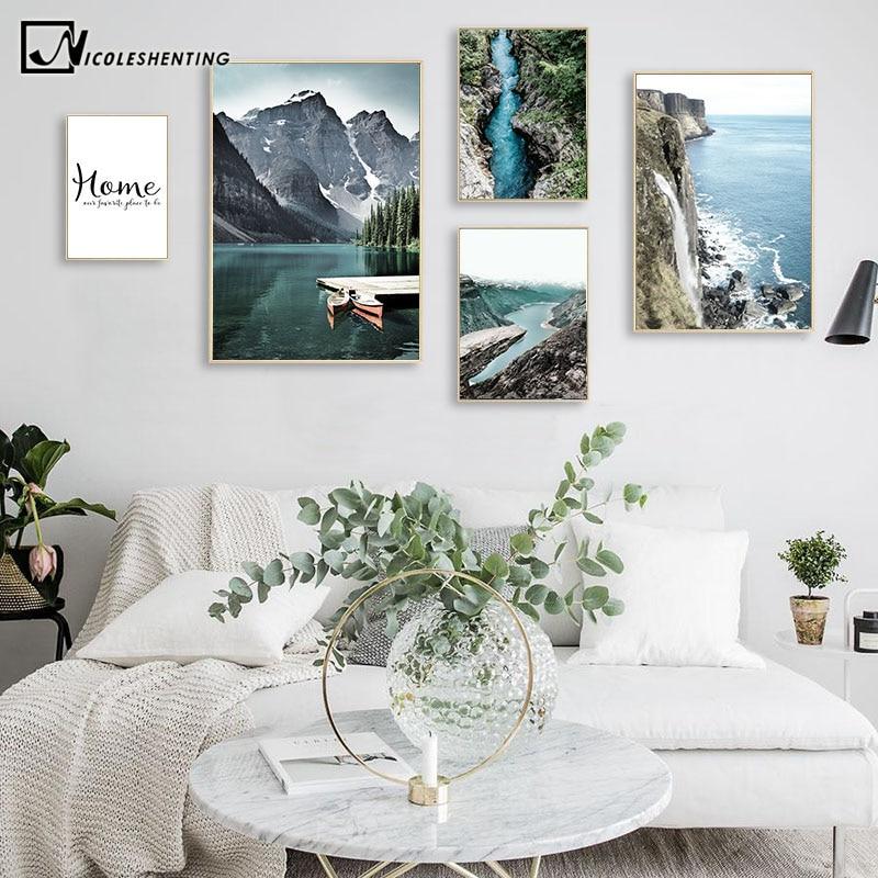 Картина с изображением горного озеро с водопадом плакат в скандинавском стиле с изображением природы пейзажа, настенная живопись на холсте, современное оформление комнаты|Рисование и каллиграфия| | - AliExpress