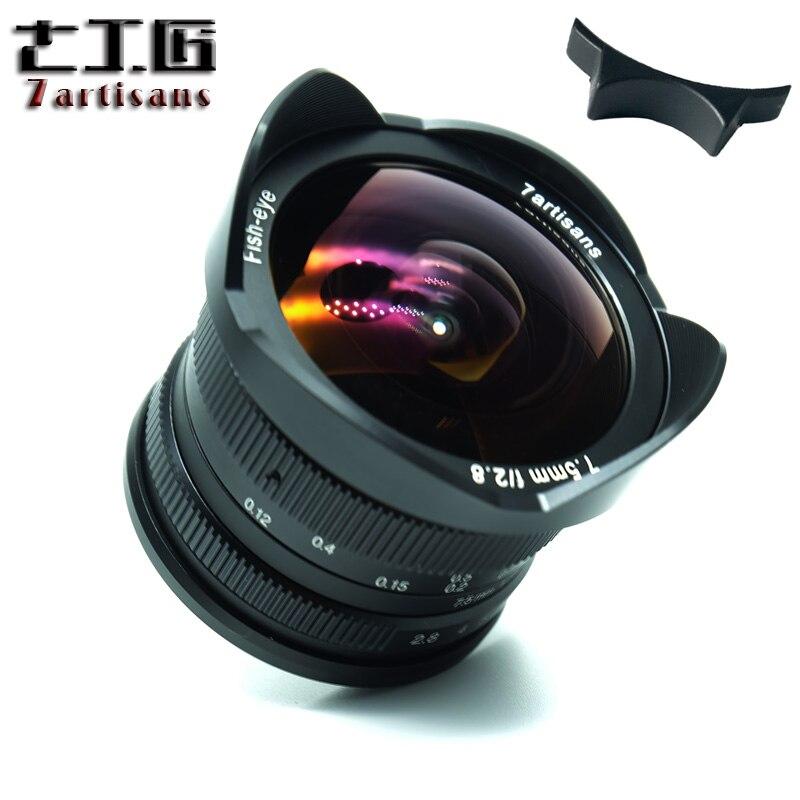 7 Manual de artesãos 7.5mm f2.8 fisheye lens 180 APS-C Lente Fixa Para E Montar Canon EOS-M Monte Fuji FX Montagem Venda Quente Livre grátis