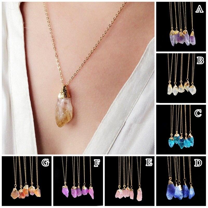 Natural Crystal Quartz Healing Point Chakra Zircon Bead Gem Necklace Pendant Stone Noble Elegant Vintage Popular Man Women